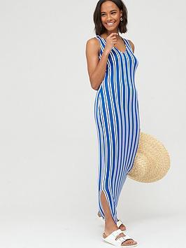 V by Very V By Very V-Neck Jersey Maxi Dress - Stripe Picture