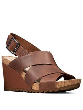 Clarks Clarks Flex Sand Leather Wedge Sandal - Tan Picture