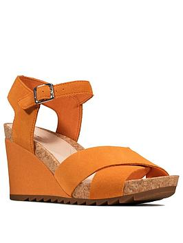 Clarks Clarks Flex Sun Leather Ankle Strap Wedge Sandal - Amber Picture