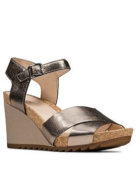 Clarks Clarks Flex Sun Ankle Strap Leather Wedge Sandal - Stone Picture