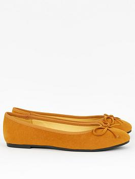 Evans Evans Wide Fit Rocco Microfibre Ballerina - Mustard Picture