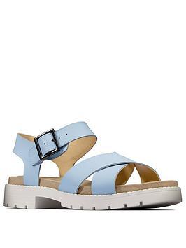 Clarks Clarks Orinoco Strap Leather Flat Sandal - Sky Blue Picture