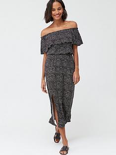 v-by-very-bardot-frill-jersey-midi-dress-spot-print