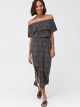 V by Very V By Very Bardot Frill Jersey Midi Dress - Spot Print Picture