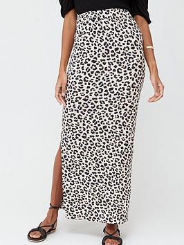 v-by-very-split-side-jersey-maxi-skirt-animal-print