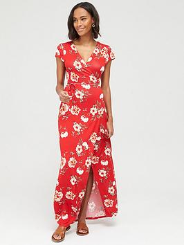 V by Very V By Very Jersey Short Sleeve Wrap Maxi Dress - Red Print Picture