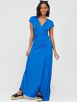 v-by-very-jersey-short-sleeve-wrap-maxi-dress-blue