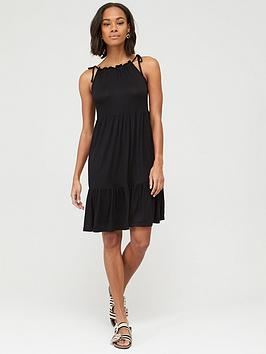 V by Very V By Very Tiered Jersey Tie Shoulder Short Dress - Black Picture