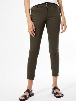 Dorothy Perkins Dorothy Perkins Tab Button Darcy Jeans - Olive Picture