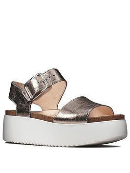 Clarks Clarks Botanic Strap Leather Wedge Sandal - Stone Picture