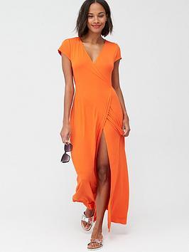 V by Very V By Very Jersey Short Sleeve Wrap Maxi Dress - Paprika Picture