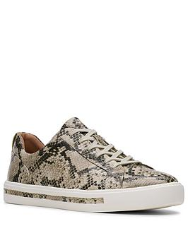 Clarks Clarks Un Maui Lace Leather Trainer - Natural Snake Picture
