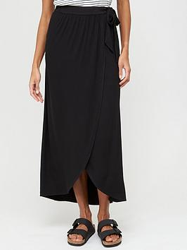 V by Very V By Very Tall Wrap Jersey Maxi Skirt - Black Picture