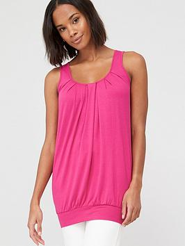 V by Very V By Very Petite Scoop Neck Bubble Hem Vest Top - Pink Picture
