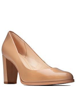 Clarks Clarks Kaylin Cara Block Heel Court Shoe - Beige Picture