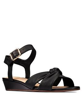 Clarks Clarks Sense Strap Leather Low Wedge Sandal - Black Picture