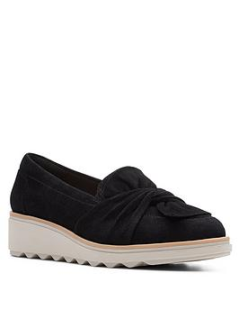 Clarks Clarks Sharon Dasher Leather Wedge Loafer - Black Picture