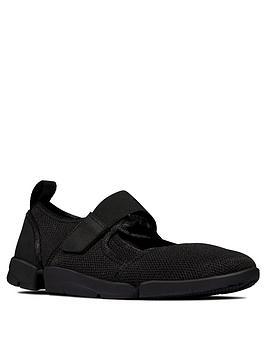 Clarks Clarks Tri Amelia Leather Bar Flat Shoe - Black Picture