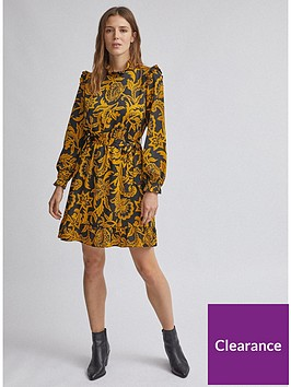 dorothy-perkins-floral-shirred-fit-and-flare-dress-ochre