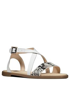 Clarks Clarks Bay Rosie Leather Flat Sandal - Grey Snake Picture