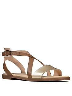 clarks-bay-rosie-leather-flat-sandal-tan