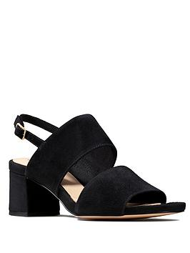 Clarks Clarks Sheer55 Sling Leather Block Heel Sandal - Black Picture