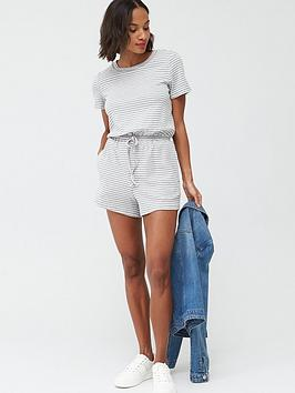 V by Very V By Very Jersey Channel Waist Short Sleeve Playsuit - Stripe Picture