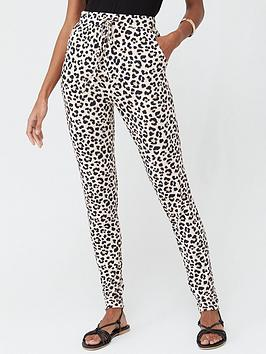 V by Very V By Very Jersey Tapered Leg Trousers - Animal Print Picture