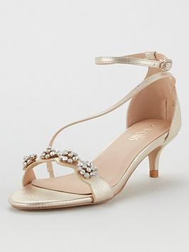 Wallis Wallis Kitten Heel Embellished Sandals - Gold Picture