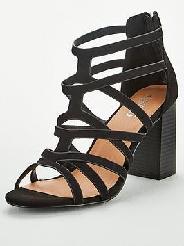 Wallis Wallis Cage Upper Block Heel Sandals - Black Picture