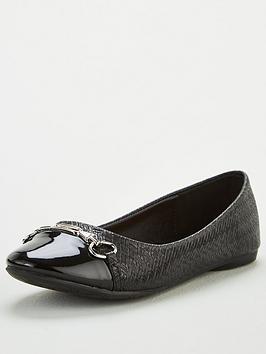 Wallis Wallis Toe Cap Trim Ballerina Shoes - Black Picture