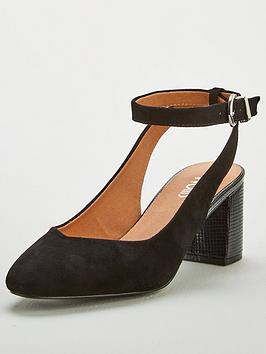 Wallis Wallis Ankle Strap Slingback Low Block Court Shoes - Black Picture