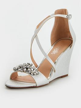 Wallis Wallis Jewelled Front Strap Wedge - White Picture