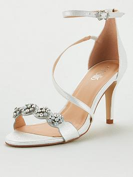 Wallis Wallis Jewelled Asymmetric Strap Sandals - White Picture