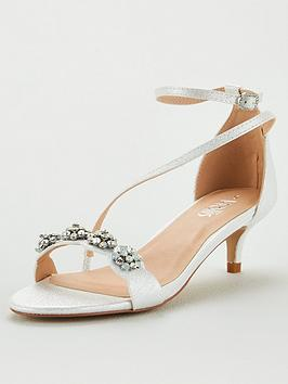 Wallis Wallis Kitten Heel Embellished Sandals - White Picture