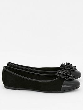 Evans Evans Wide Fit Rosebud2 Flower Ballet - Black Picture