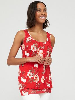 V by Very V By Very Scoop Neck Bubble Hem Vest - Red Print Picture