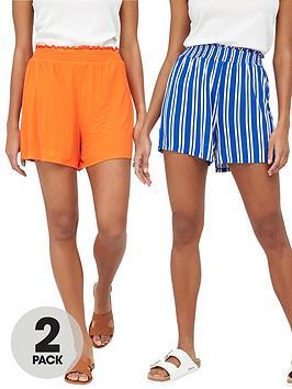 V by Very V By Very 2-Pack Shirred Hem Jersey Shorts - Stripe/Orange Picture