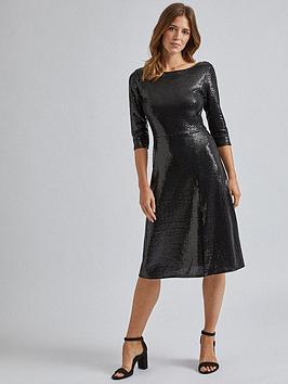 dorothy-perkins-sequin-midi-dress-black