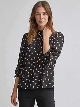 Dorothy Perkins Dorothy Perkins Spot 3/4 Sleeve Top - Black Picture