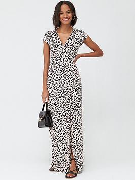 v-by-very-petite-petite-jersey-short-sleeve-wrap-maxi-dress-leopard-print