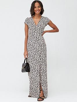 V by Very V By Very Jersey Short Sleeve Wrap Maxi Dress - Animal Print Picture
