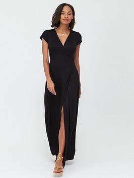 V by Very V By Very Jersey Short Sleeve Wrap Maxi Dress - Black Picture