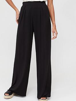 V by Very V By Very Wide Leg Jersey Trousers - Black Picture
