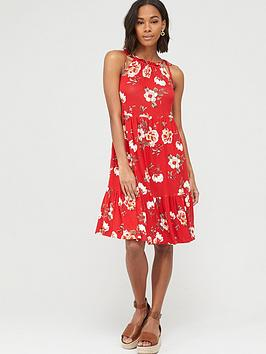 V by Very V By Very Tiered Jersey Tie Shoulder Short Dress - Red Print Picture