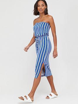V by Very V By Very Bardot Channel Waist Jersey Midi Dress - Stripe Picture