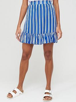 V by Very V By Very Frill Hem Jersey Mini Skirt - Stripe Picture