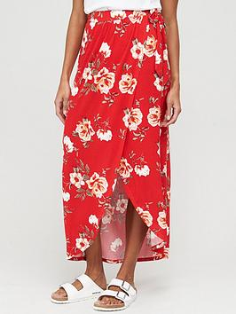 V by Very V By Very Wrap Jersey Maxi Skirt - Red Print Picture