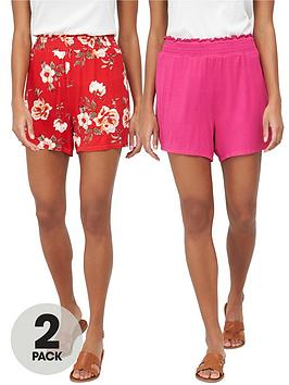 V by Very V By Very 2-Pack Shirred Hem Jersey Shorts - Red/Pink Picture