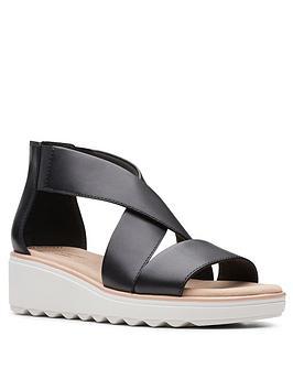Clarks Clarks Jillian Rise Low Leather Wedge Sandal - Black Picture